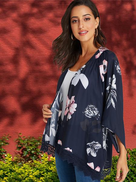 YOINS Navy Random Floral Print Lace Trim Kimono