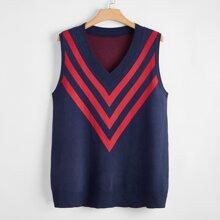 Plus Chevron Pattern Sweater Vest