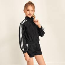 Girls Zip Up Striped Tape Side Jacket & Shorts Set