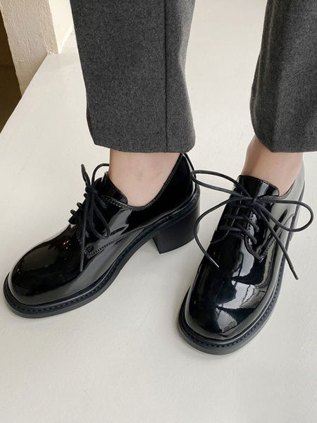 Milanoo Women Black Oxfords Round Toe PU Leather Lace Up Casual Shoes