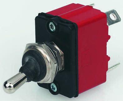 Apem SPST Toggle Switch, (On)-Off-On, IP67, Panel Mount