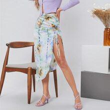 Falda de tie dye de muslo con abertura con fruncido lateral con cordon