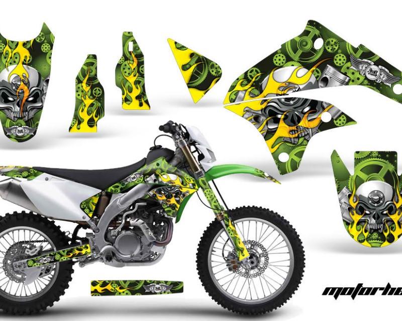 AMR Racing Dirt Bike Graphics Kit Decal Sticker Wrap For Kawasaki KLX450 2008-2012?MOTORHEAD GREEN