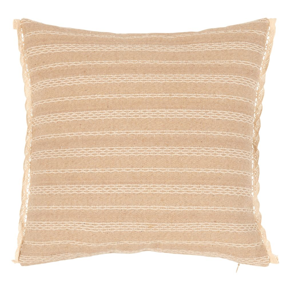 Kissenbezug aus Baumwolle, beige und naturweiss bestickt 40x40