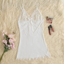 Contrast Lace Bow Front Solid Slip Night Dress