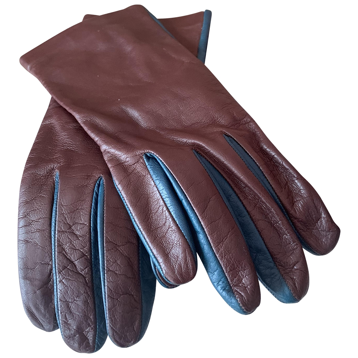 Prada \N Brown Leather Gloves for Women 7 Inches