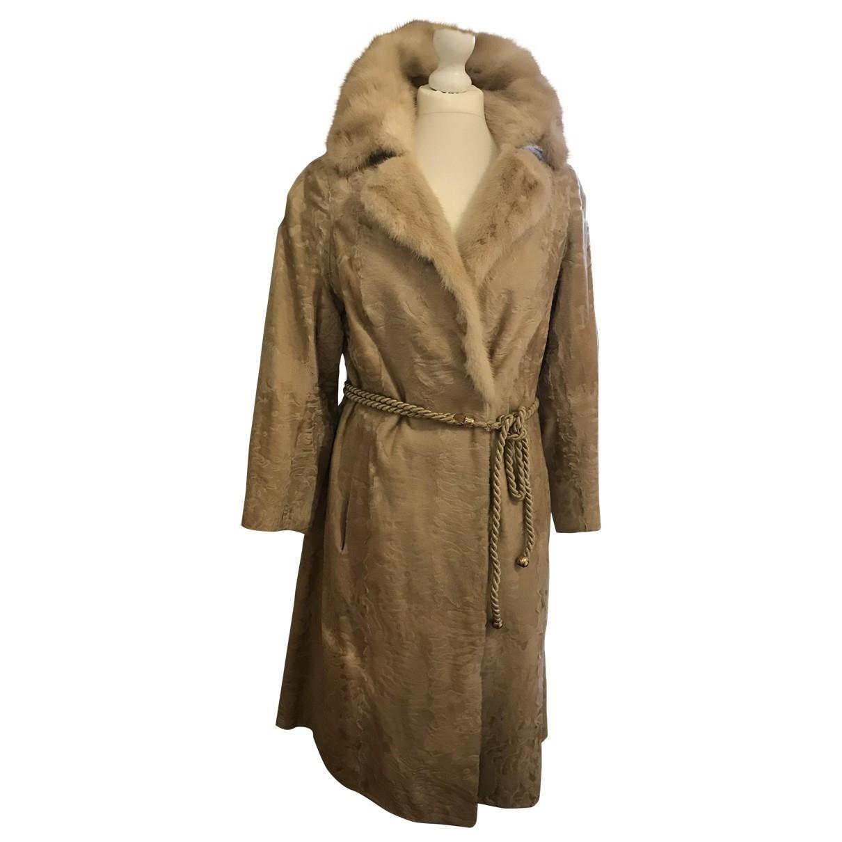 - Manteau   pour femme en astrakan - ecru