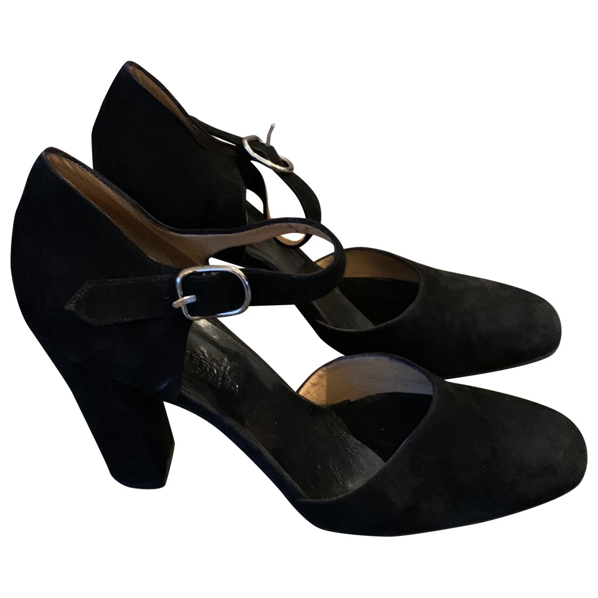 Hermès \N Black Suede Heels for Women 39.5 EU