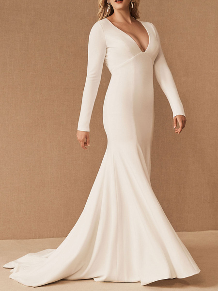 Milanoo Bridesmaid Dresses Long Sleeves Stretch Crepe Mermaid With Train Wedding Party Dress