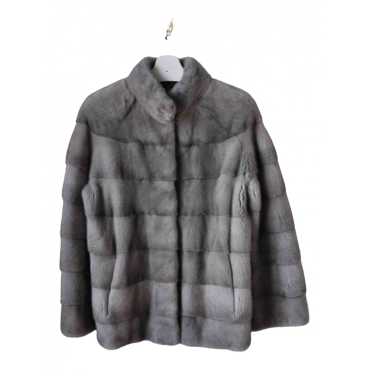 - Manteau   pour femme en vison - gris