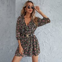 Floral Ruffle Trim Bishop Sleeve Dress Without Belted