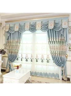 Decorative and Breathable Chenille Light Blue with Embroidered Flowers Window Sheer Curtain