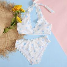 Gerippter Bikini Badeanzug mit Stern Muster und Bogenkante