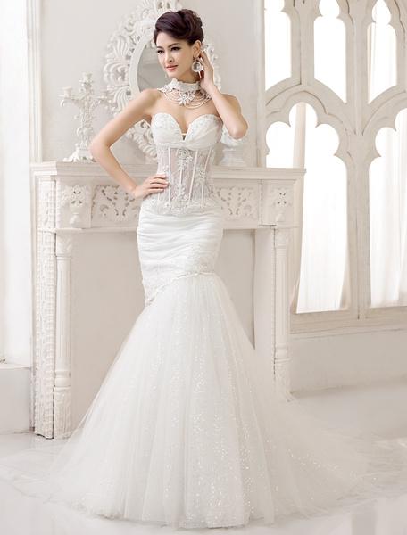 Milanoo Vestido de novia de encaje de color marfil de cola capilla