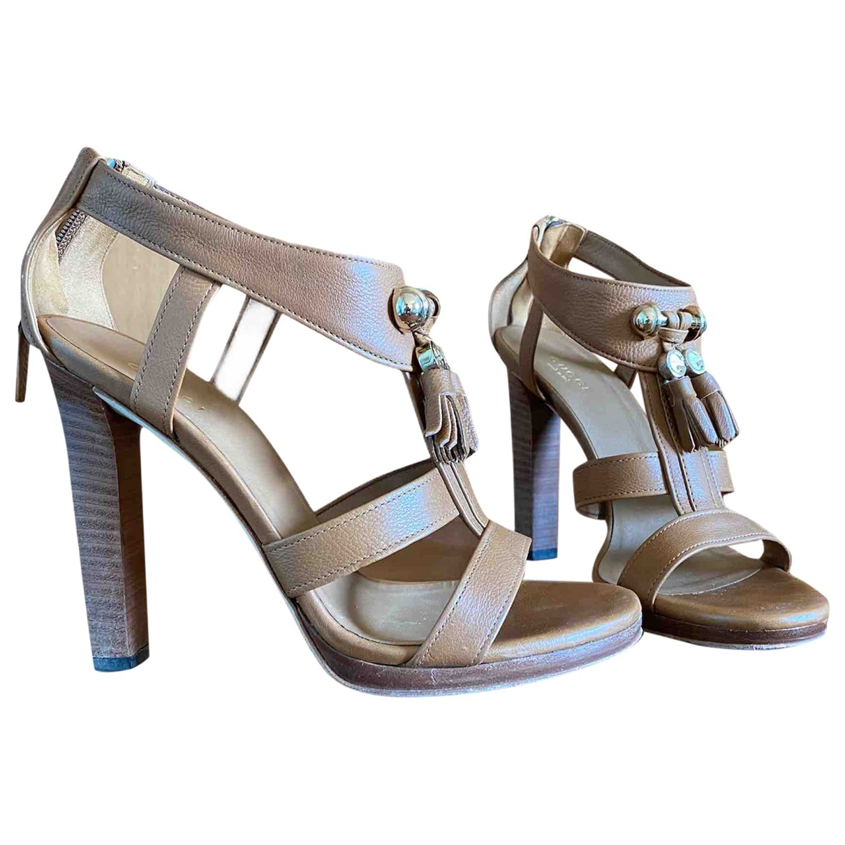 Gucci \N Camel Leather Sandals for Women 37 IT