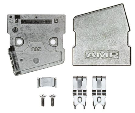 TE Connectivity , Series III Zinc Angled D-sub Connector Backshell, 20 Way, Strain Relief, Silver
