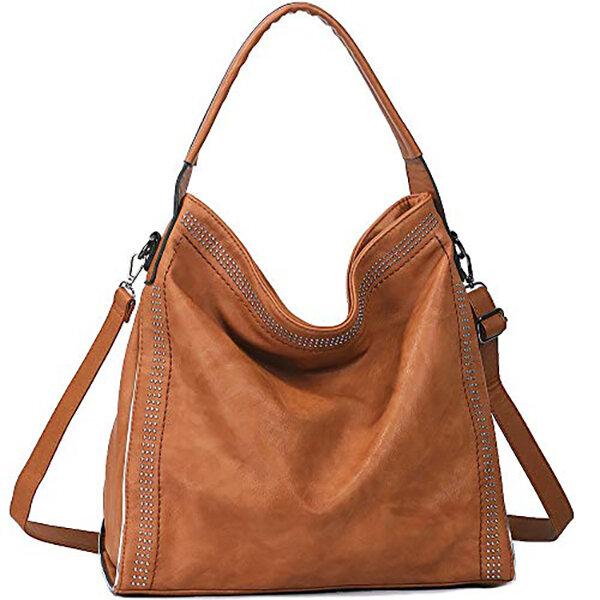 Rivet Large Capacity Handbag Women Hobo PU Leather Shoulder Bag