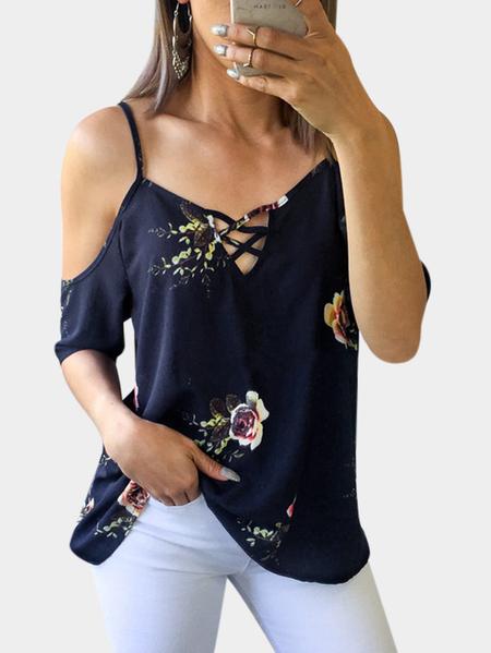 Yoins Navy Adjustable Shoulder Straps Floral Print V-neck Sleeveless Blouse