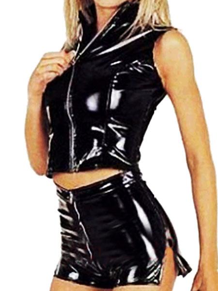 Milanoo Shiny Black Bodysuit Catsuit Latex PVC Women's Sex Top and Skirt Costume