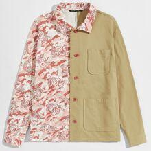 Jacke mit Taschen Klappen und Drachen Muster