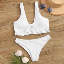 Ruffle Hem V Neck Textured Bikini Swimsuit