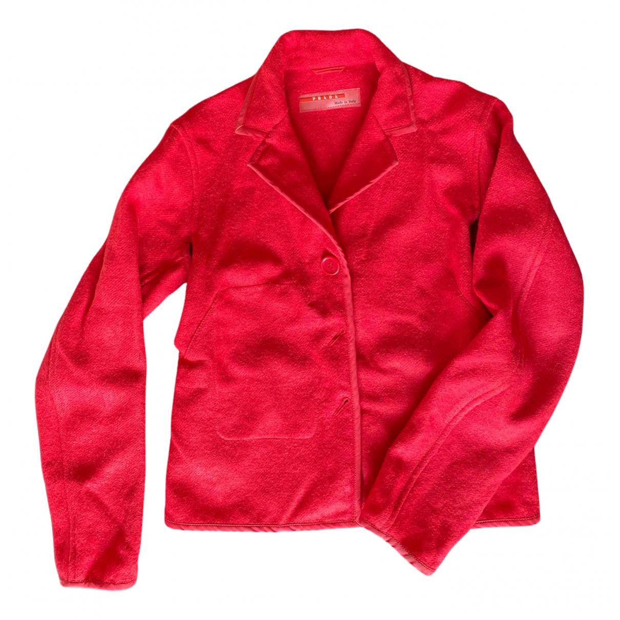 Prada - Veste   pour femme en laine - rouge