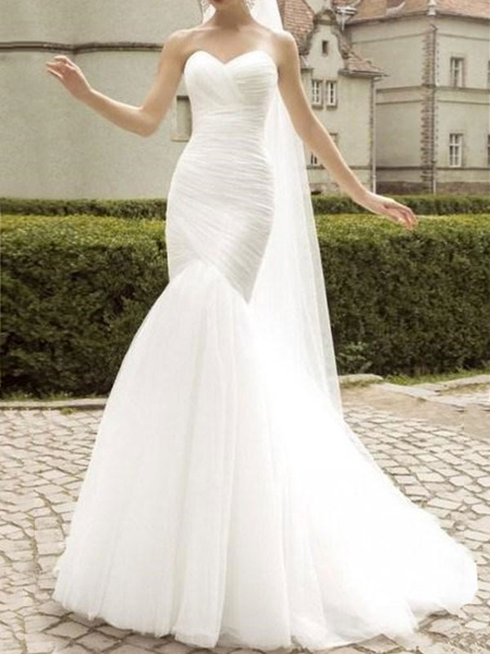 Milanoo Wedding Dress Sweetheart Neck Sleeveless Natural Waist Pleated Court Train Bridal Gowns