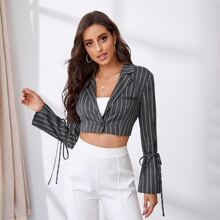 Knot Side Single Button Striped Bolero Blazer