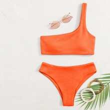 Solid One Shoulder Bikini Swimsuit