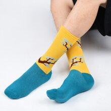 Maenner Socken mit niedrigem Schnitt und Baum Muster