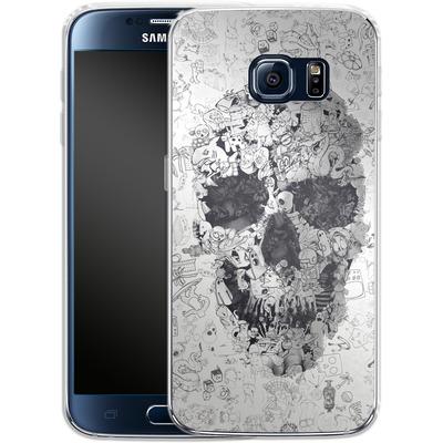 Samsung Galaxy S6 Silikon Handyhuelle - Doodle Skull von Ali Gulec
