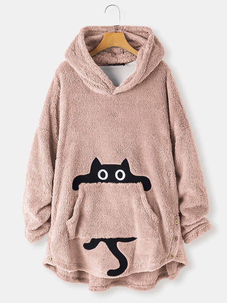 Cutie Cat Print Pocket Long Sleeve Fleece Plus Size Hoodie