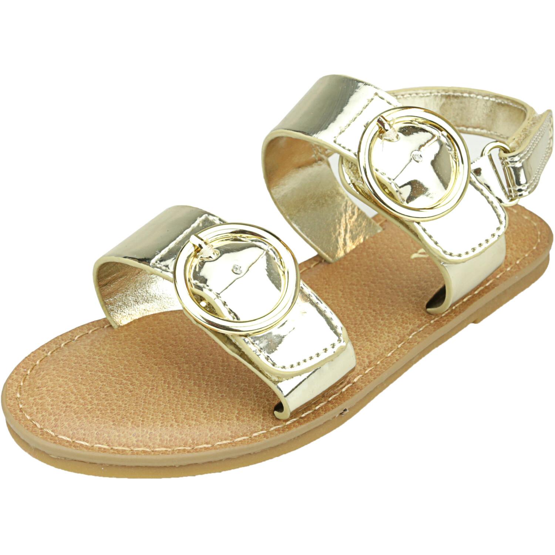 Nina Girl's Brunny Platino Metallic Ankle-High Patent Leather Sandal - 11M
