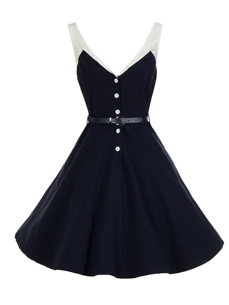 Ericdress V-Neck Knee-Length Backless Regular Expansion Dress