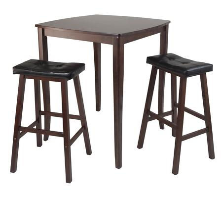 94360 3-Pc Inglewood High/Pub Dining Table with 2 Cushioned Saddle Stools in Walnut