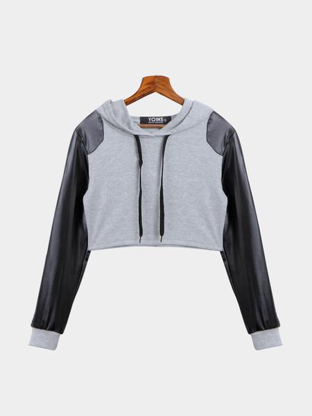 Yoins Artificial Leather Sleeve Hooded Crop Sweatshirt