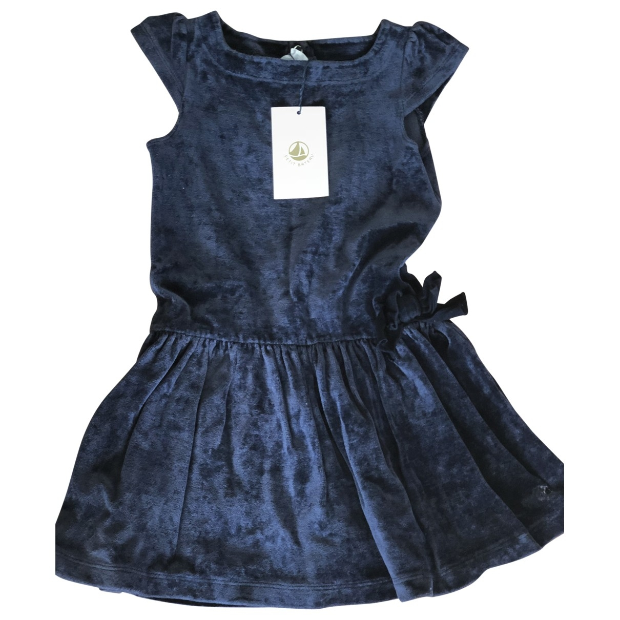 Petit Bateau - Robe    pour enfant en coton - elasthane - bleu