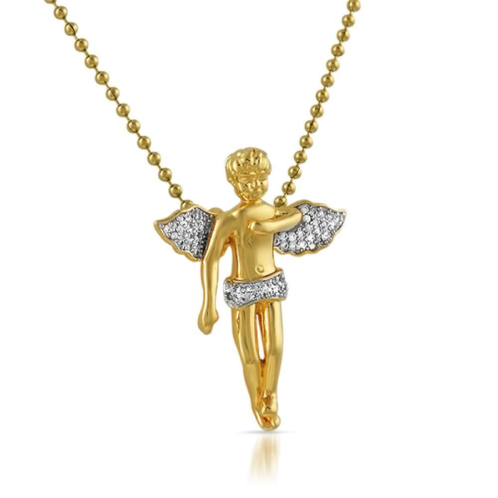 Amazing Cherub Angel CZ Gold Bling Bling Pendant