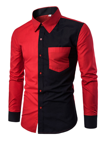 Milanoo Black Casual Shirts Turndown Collar Long Sleeve Two Tone Regular Fit Shirt For Men