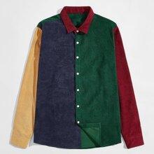 Kord Hemd mit Farbblock und Knopfen vorn