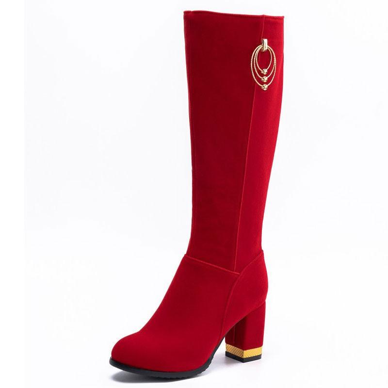 Ericdress Chunky Heel Side Zipper Short Floss Knee High Boots