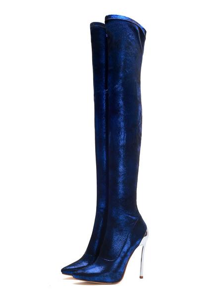 Milanoo Botas sobre la rodilla Botas altas hasta el muslo con tacon de aguja y punta puntiaguda azul con lentejuelas