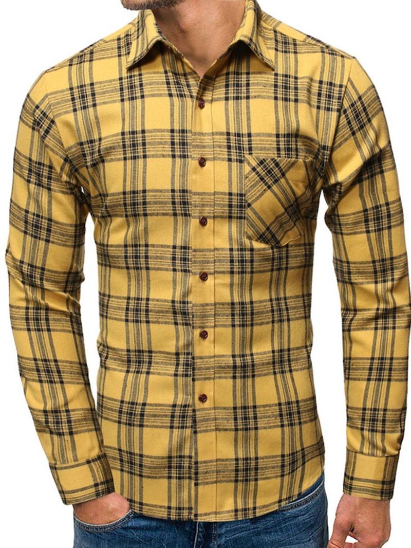 Ericdress Lapel Plaid Pocket Slim Single-Breasted Shirt