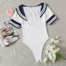Sailor Collar Crotchless Teddy Bodysuit