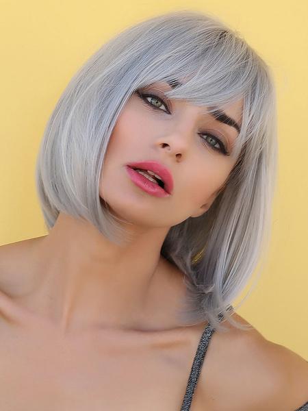 Milanoo Pelucas sinteticas Plata Bobs Rayon despeinado corto Mujer Mujer Peluca corta