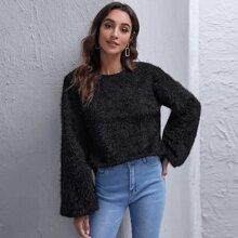 Drop Shoulder Lantern Sleeve Fluffy Knit Sweater