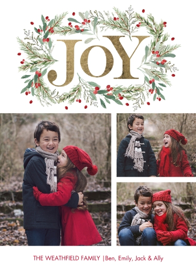 Christmas Photo Cards 5x7 Cards, Premium Cardstock 120lb, Card & Stationery -Christmas Joy Garland by Tumbalina