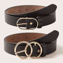 2pcs PU Buckle Belt