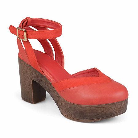 Journee Collection Womens Rumer Pumps Stacked Heel, 8 1/2 Medium, Red