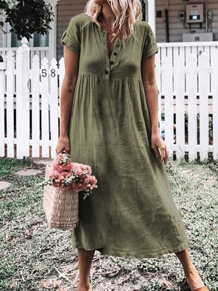 Milanoo Shift Dresses Short Sleeves Casual Jewel Neck Grey Tube Dress